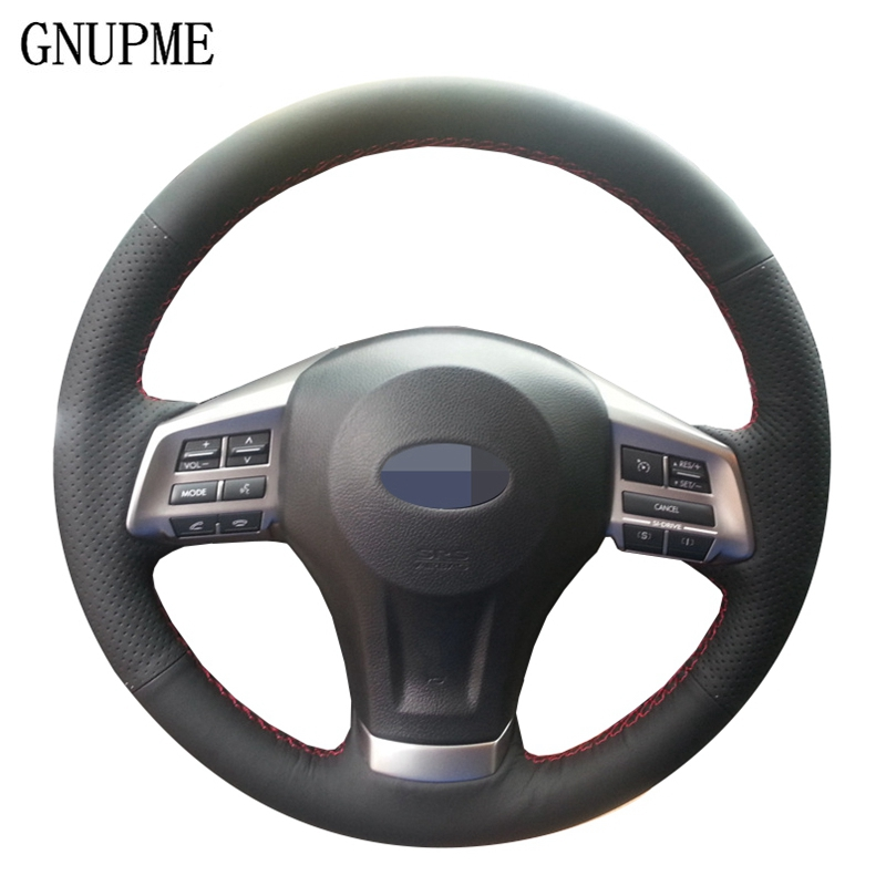 Black Artificial Leather Hand-stitched Car Steering Wheel Cover For Subaru Forester 2008-2015 Legacy 2013-2014 Impreza 2008-2011