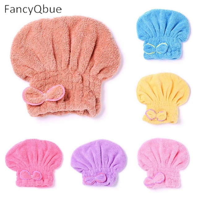 Microfiber Quick Drying Hair Towel Bowknot Bath Cap Strong Water Absorption Hair Dry Shower Bath Hats With Coral Velvet
