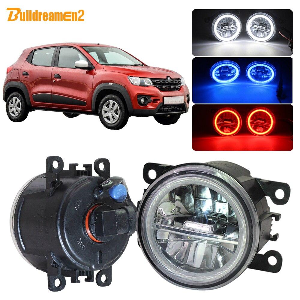 Buildreamen2 Car H11 LED Fog Light Kit Angel Eye DRL Daytime Running Light 4000LM 12V For