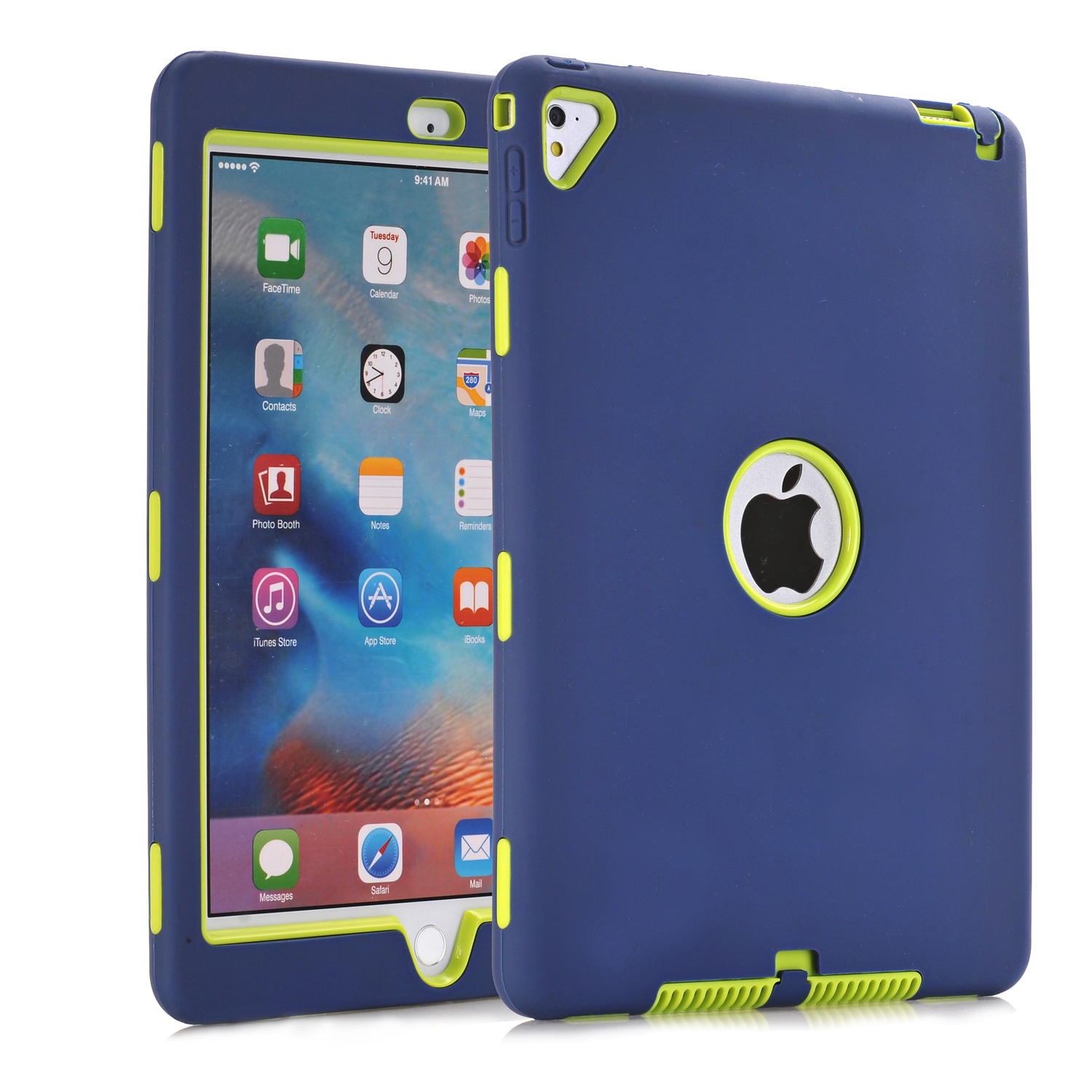 Ar gyfer iPad Pro 9.7, Ar gyfer iPad Air 2 Case Retina Kids Baby Safe Armour Shockproof Dyletswydd Trwm Silicôn Clawr Achos Caled Ar gyfer iPad Air2