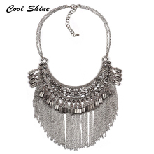 2016 New Fashion Vintage Maxi Statement Necklaces & Pendants Hot Metal Tassel Choker Necklace Za Collar Women Jewelry