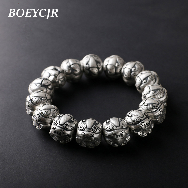 BOEYCJR 100% S990 Sterling Silver Brave Troops Beads Bangles & Bracelets Vintage Jewelry Lucky Energy Bracelet For Men Gift 2018 8aaaaaaaa natural stone gold obsidian cat s eye round beads stretch bracelet jewelry with lucky evil brave troops for men women