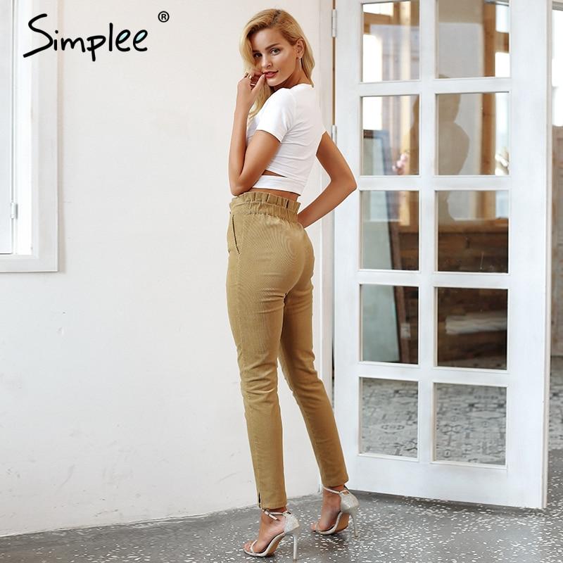 Simplee Ruffle Waist Corduroy Pants