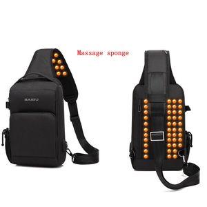 Image 3 - BAIBU sac à bandoulière imperméable pour hommes, sac chargeur USB de massage anti vol, sac messager de poitrine court voyage pour ipad Mobile