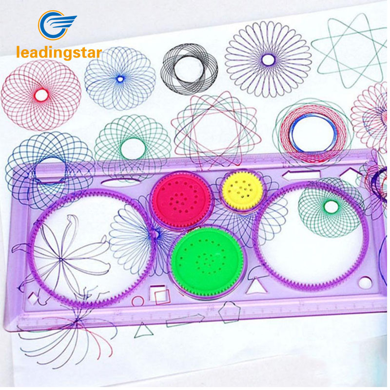 LeadingStar Spirograph Creative Drawing Tool Playset Geometric Ruler Student Drafting Stencil Gift Random Color zk30