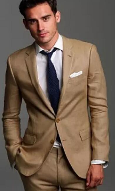 Handsome Tuxedos For Men Beige Wedding Suits For Men Two Pieces Men Suits Groom Wedding Suits Groomsmen Suits Jacket+Pants