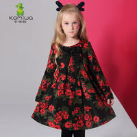 Girls Dresses KAMIWA 2018 Baby Autumn Floral Printing Bowknot Toddler Long sleeve Teenage Children's Clothing Kids Clothes