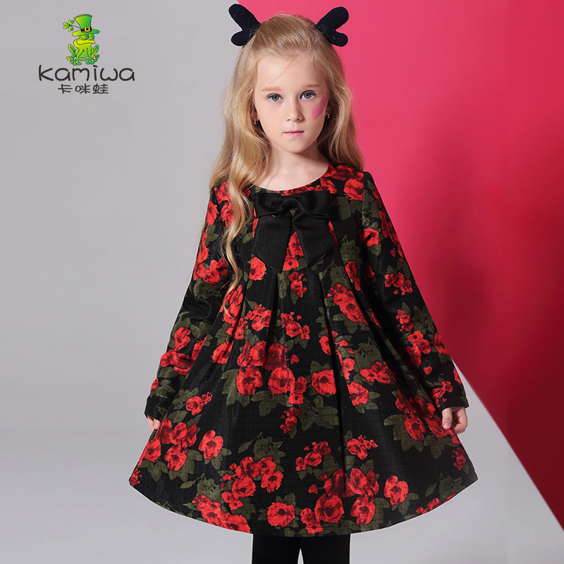 Girls Dresses KAMIWA 2017 Baby  Autumn Floral Printing Bowknot Toddler Long sleeve Teenage Children's Clothing Kids Clothes