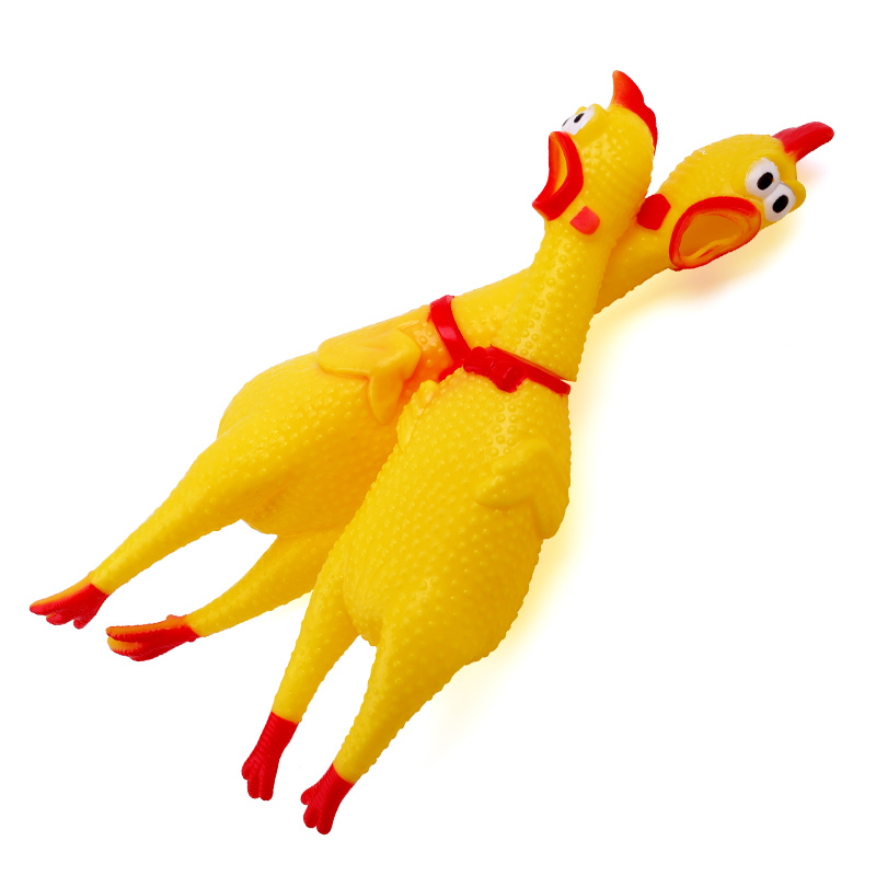 Rubber Screaming Chicken Squawking Shrilling Fun Novelty Squeeze Vent Chicken prank Anti stress Toys as Gifts Tease dog toys