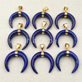 WT-P988 5pcs/lot Wholesale Natural blue Lapis Moon Pendant,Fashion Blue stone lapis Horn Pendant 10*35mm gold plated Pendant