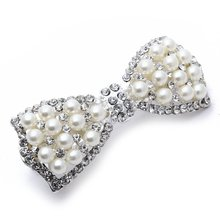 2017 NEW  Barrette Clamp HairPin Bow Faux Pearl 78x31mm Metal Deco Woman