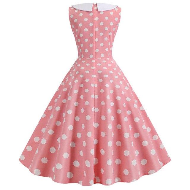 Plus Size Polka Dot Vintage Dress Women Summer Pink Rockabilly Office Party Dress Casual Peter Pan Collar Bow Sundress Vestidos 3