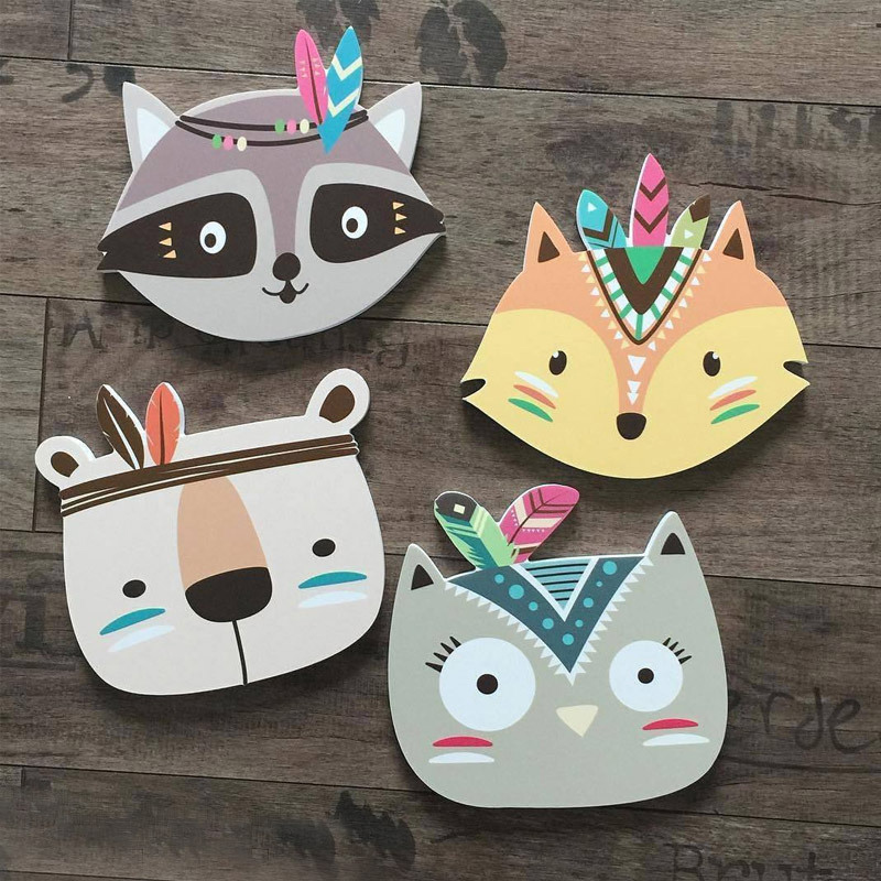 Cute Fox Wall stickers For Kids Room Cartoon Nursery Home Children Room Decoration Stickers Posters Wood INS Decor Plaques Paint