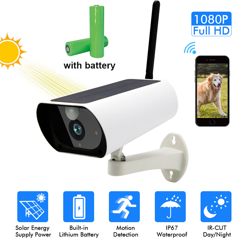 1080P HD Surveillance Cameras Waterproof Outdoor Security Solar Battery include  Charge Camera WIFI Cameras Audio PIR Motion
