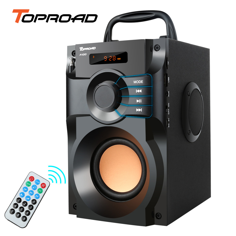 10W Portable Bluetooth Speaker Subwoofer Stereo Wireless Speakers LCD Display Remote Control Soundbox Support FM Radio