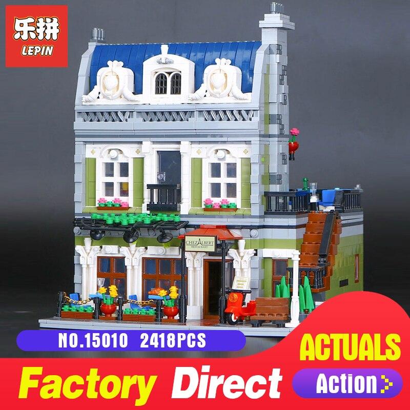 цена Lepin 15010 2418Pcs Creator Series Expert City Street Parisian Restaurant Model Building Blocks Bricks 10243 Educational Toys