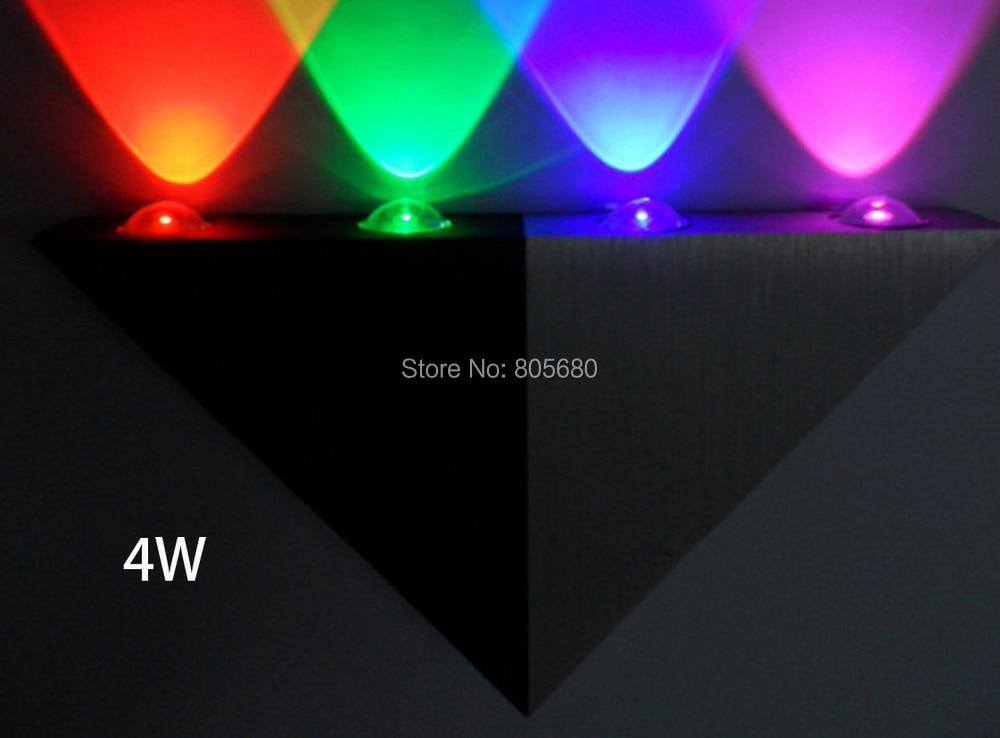 Modern high power 4WLED Triangle wall lamp/Light for hotel/KTV/home/bar, AC85~265V R/G/B/WW/DW DIY led wall lighting
