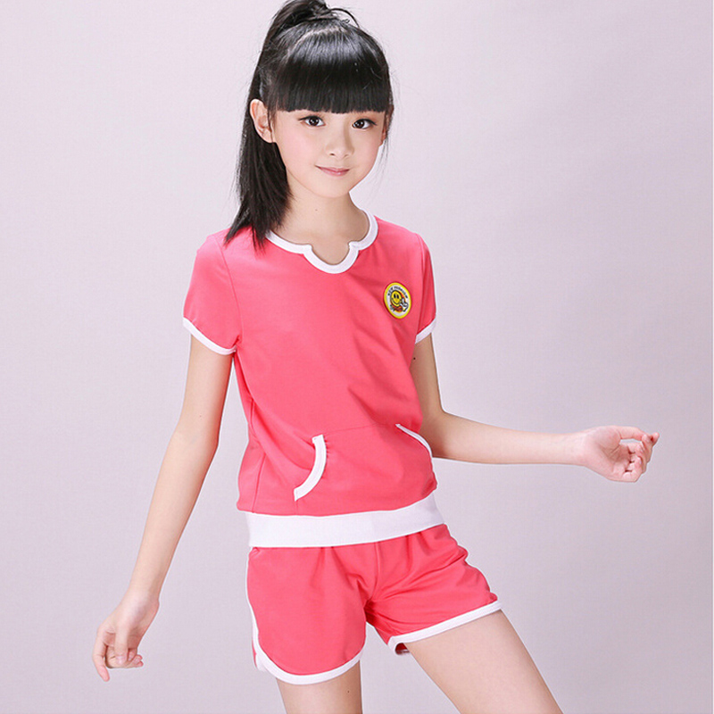 2016 girls pure cotton short sleeve shorts summer sports suit kids leisure sets children twinset 6 - 15 years teenage clothing