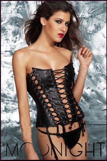 MOONIGHT Corpetes De Couro Falso Sexy Mulheres Strapless Overbust Corset Bustier Top Shaper Mulheres Sexy Lingerie Preta