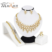 MUKUN 2018 Dubai Bridal Jewelry Sets Brand pearl earrings necklace set nigerian jewelry set for women African Beads Jewelry Sets christmas costume jewelry set hot pink and orange african beads nigerian wedding bridal necklace jewelry set brand beads 2017
