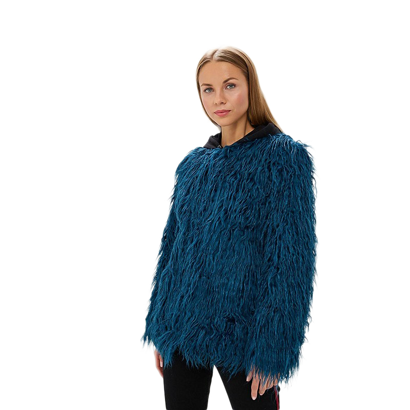 Fur & Faux Fur MODIS M182W00448 coat for female for woman TmallFS faux fur overlay hoop earrings