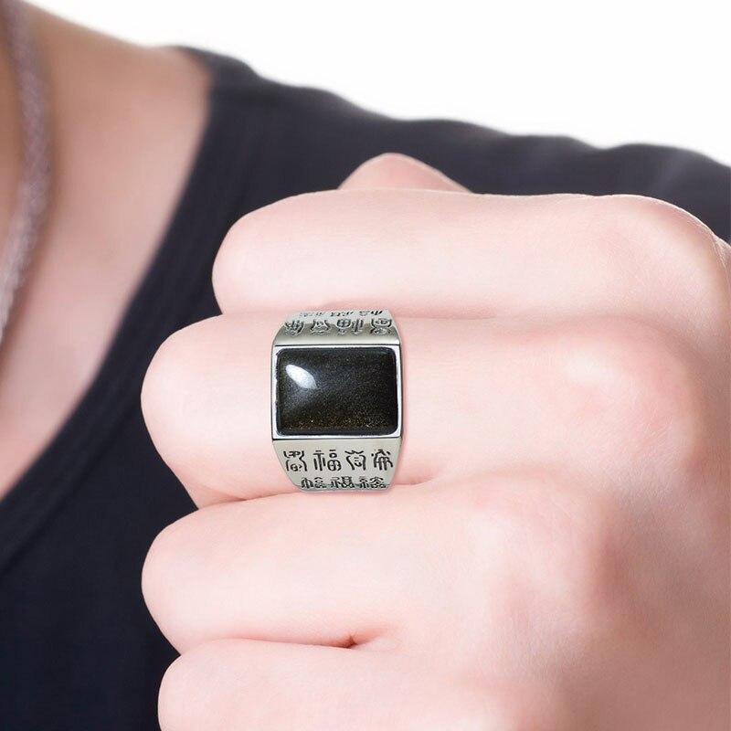 2020 pressé offre spéciale garçons étain alliage Anillos anneaux anneau implique Wanfutu S925 incrusté naturel obsidienne clé bague pour