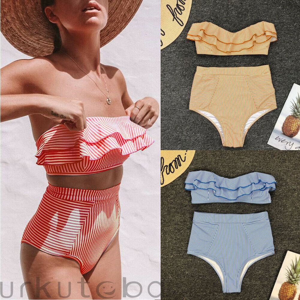 2020 NEW Sexy Women Bikini Set Striped Two-Piece Summer Bathing Suit Beach Swim Swimwear S-L