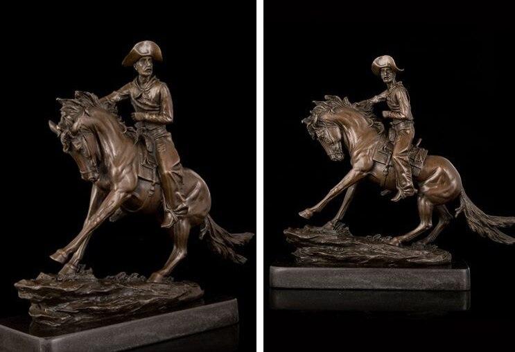 Art Deco Sculpture Ride Horse Cowboy Bronze Statue