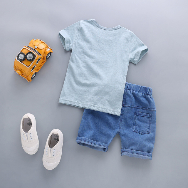 Newborn Baby Boy Clothing Sets Elephant T-shirt+Solid Pants 2Pcs 2