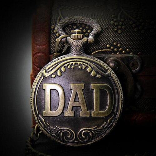 Винтаж Мужчины ПАПА Кварцевые Карманные Часы Ожерелье Цепь Подарок на День Отца