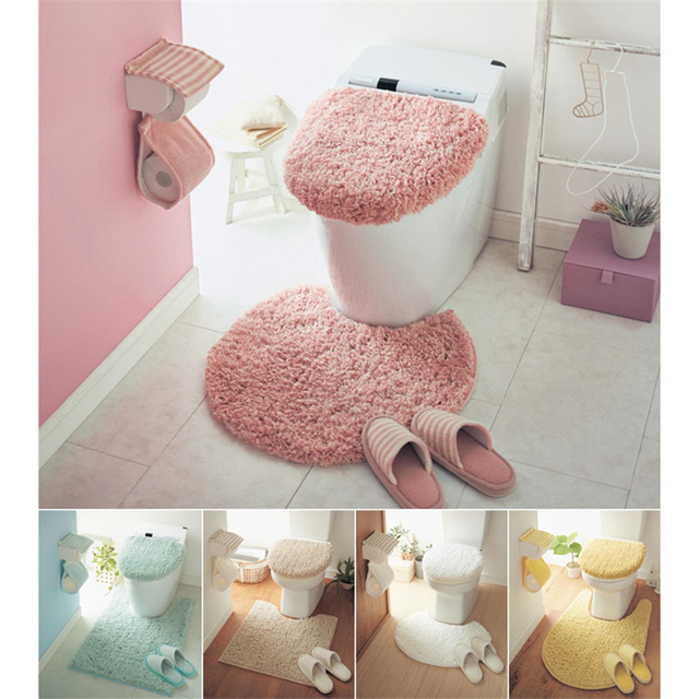3pcs/Set Plush Solid Color Toilet Set Seat Cover Rug Potty Sets Thick Toilet Ring Set Bathroom Mat Overcoat Toilet Case
