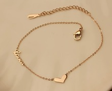 BFQ Fashion rose gold color heart anklets for women stainless steel LOVE letter anklets jewelry foot jewelry chaine cheville