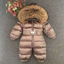Rosyjskie zimowe chłopcy dziewczęta 1 5Y zimowe kombinezony śpioszki dla niemowląt kaczka dół kombinezon kołnierz z prawdziwego futra dziecięca odzież wierzchnia dla dzieci Snowsuit
