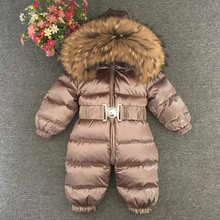 цена на Russian Winter Boys Girls 1-5Y Winter Overalls Baby Rompers Duck Down Jumpsuit Real Fur Collar Children Outerwear Kids Snowsuit