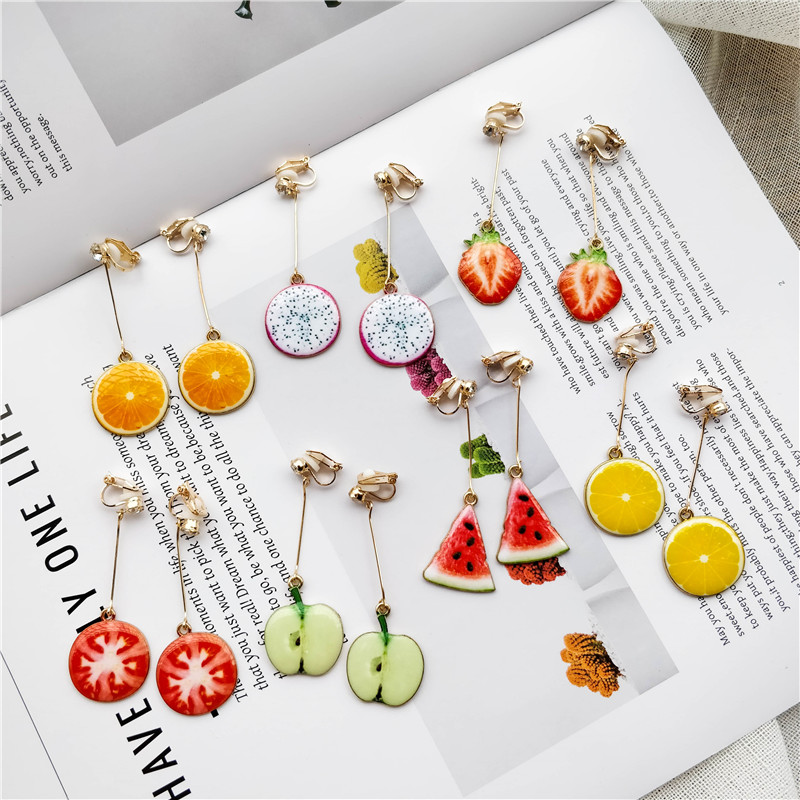 Watermelon Strawberry Fruit Long Pendant Clip Earrings For Women Holiday Girl No Ear Hole Party Jewelry No Piercing