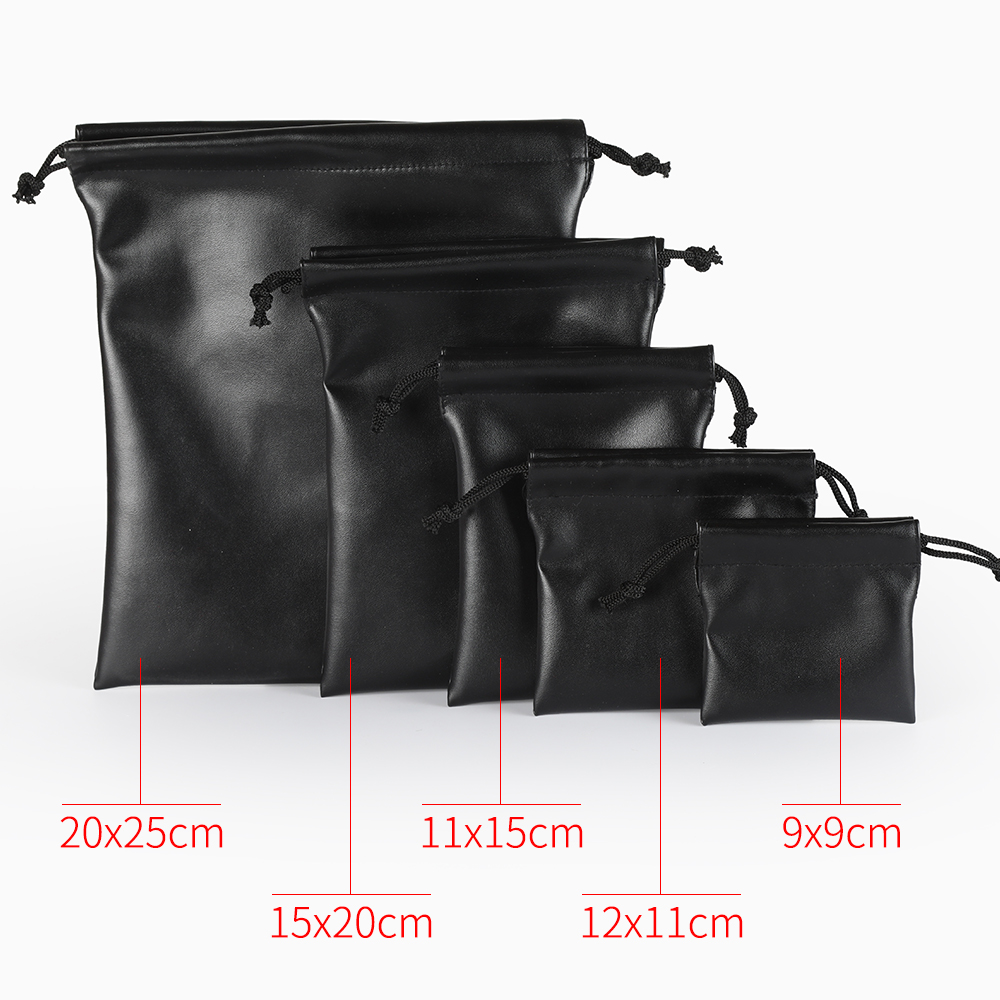 Купить с кэшбэком 10PCS 4 size Small Earring Ring Packaging Bag Black PU Leather Bag For Jewelry Drawstring Pouches Drawstring Bag for Travel