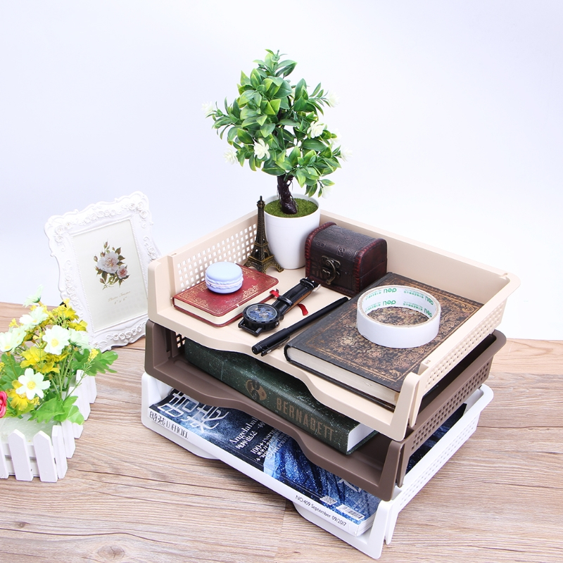 A4 Paper Superimposed Desktop Files Storage Rack Box Plastic Letter Tray Office  A4 Paper Superimposed Desktop Files Storage Rack Box Plastic Letter Tray Office