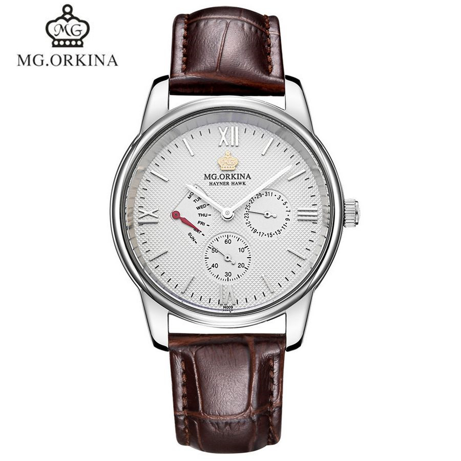 ФОТО MG.Orkina Simple Original Men's Sapphire Quartz Week/Date Stop Watches Waterproof Wristwatch Gift Box Free Ship