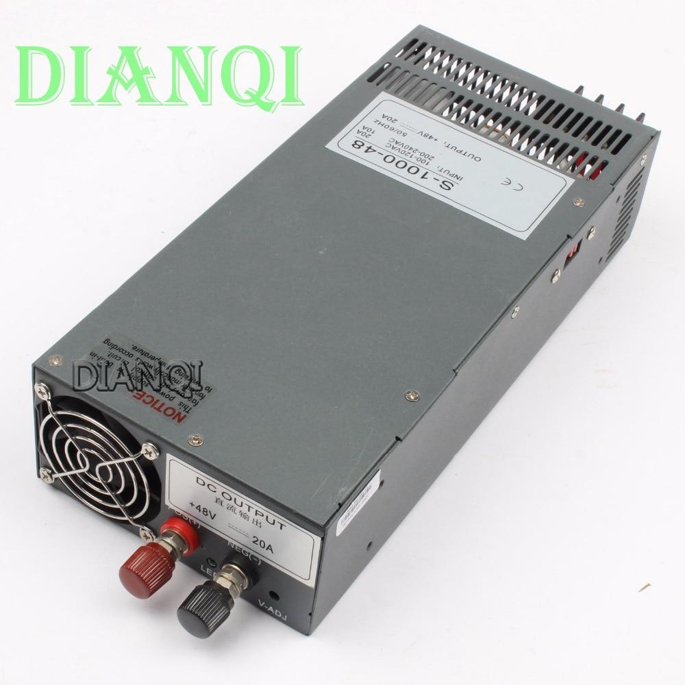 DIANQI S-1000-48 power suply output 48v 1000w 48v 20a power supply transformer ac to dc power supply  input 110v or 220v 1pcs 1000w 48v 20a switching power supply 48v20a led strip light ac to dc power suply 48v 1000w s 1000 48