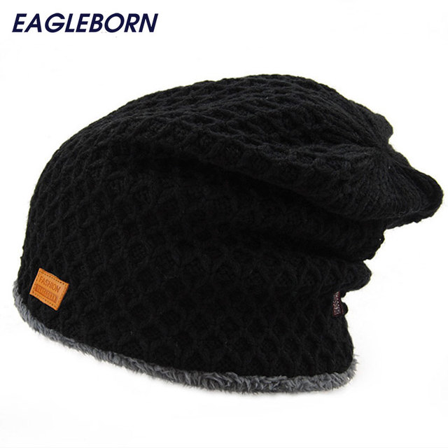 7c21445b4354 Men s winter hat 2019 fashion knitted black hats Fall Hat Thick and warm  and Bonnet Skullies Beanie Soft Knitted Beanies Cotton