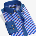 Hot Sale Spring Autumn Dress Shirts Men Square Collar Long Sleeve Plaid  Slim Fit 100% Cotton Men Casual Shirts  chemise homme