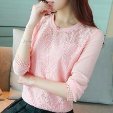 Summer shirt Autumn 2019 New Fashion Long-sleeved Feminino Shirt Chiffon Women Tops Pink Lace Shirts Blusas Camisa 619H5