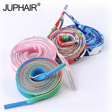 1 Pair New Fashion Laces Printing Rainbow Flat Gradient Men Women Sports Canvas Shoes Colorful Shoelaces Up Sneakers