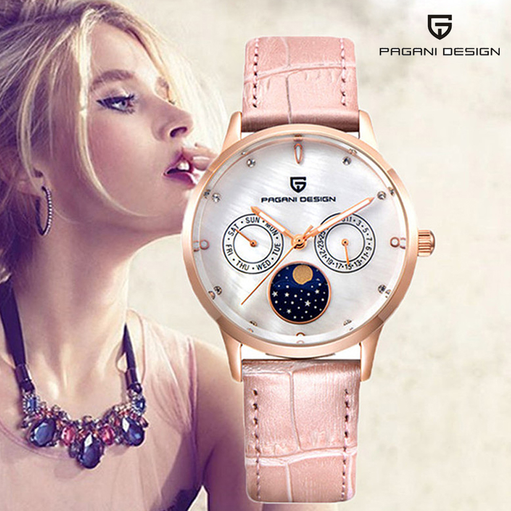 PAGANI DESIGN Ladies Fashion Quartz Watch Women Leather Casual Dress Women's Watch Rose Gold Crystal reloje mujer montre femme tezer ladies fashion quartz watch women leather casual dress watches rose gold crystal relojes mujer montre femme ab2004