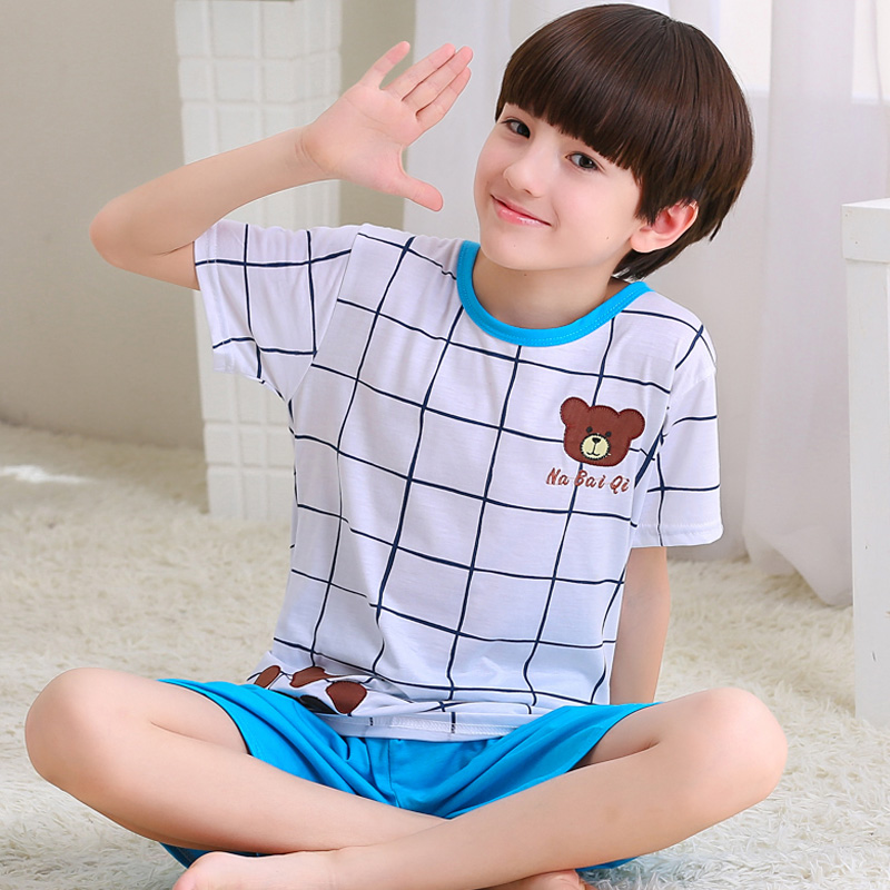 Boy sleepwear cotton short sleeve summer child comfortable leisure lattice cartoon leisurewear suit kids pajamas sets 3-15t