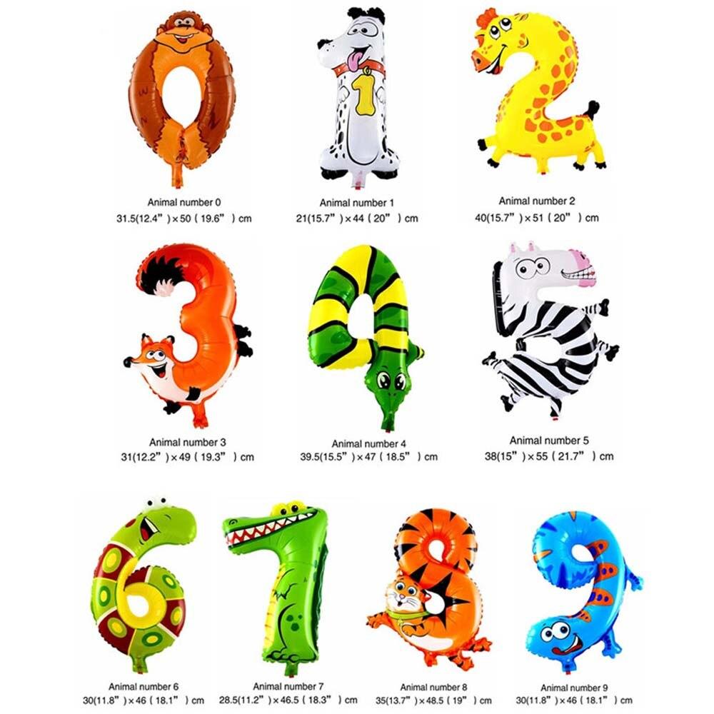 6 дюймов животные мультфильм номер фольги Воздушные шары вечерние шляпы цифры воздушные шарики для день рождения вечерние игрушки для детей
