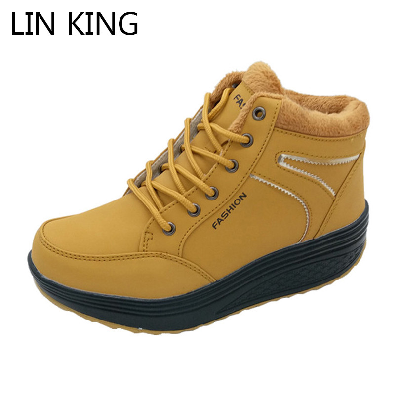 LIN KING New Wedges Women Winter Swing Shoes Lace Up Warm Fur Platform Casual Shoes Cotton Padded Woman Ankle Elevator Shoes ...
