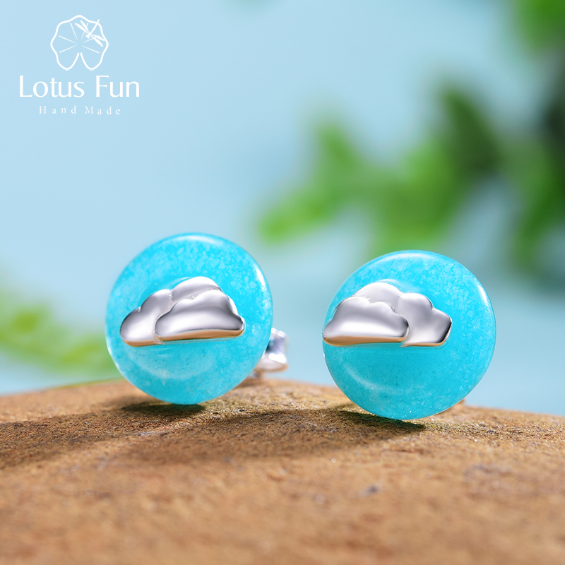 Lotus Fun Real 925 Sterling Silver Creative Designer Fine Jewelry Minimalist Design Blue Sky and Clouds Stud Earrings for Women