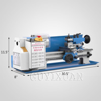 GUYX Household mini lathe Table metal lathe Stainless steel high precision lathe Metal/wood products processing
