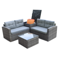 4pcs All Weather Wicker Outdoor Patio Rattan Sofa Outdoor Living Furniture Set With Small Coffee Table Loveseat Storage Box